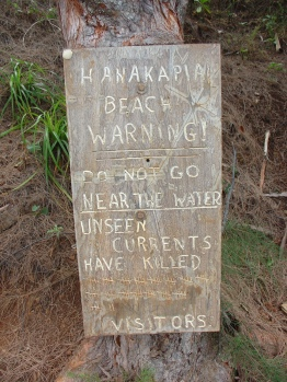 Hanakapi'ai Falls Warning Sign